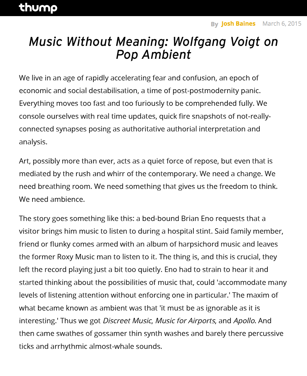 MUSIC WITHOUT MEANING: WOLFGANG VOIGT ON POP AMBIENT / 2015